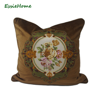 ESSIE HOME Luxury High End Brown Velvet Embroidery Cushion Cover Pillow Case Embroidery Rose Cushion