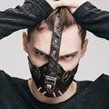 Gothic Punk Rock Steampunk Hombres Mujeres Remaches de Metal Engranaje Máscaras Partido de Cosplay Máscaras de Media Cara de la Máscara de Bronce de Cuero para Motociclistas