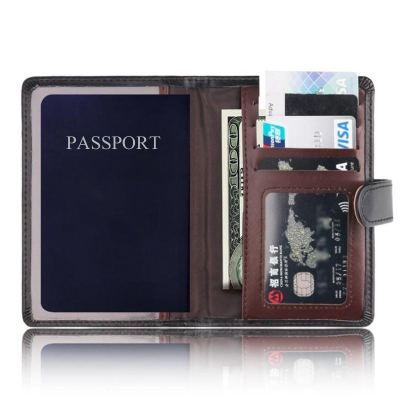 Function PU Leather Men Passport Card Holder Travel Accessories Pass Port Cover Storage Organizer ID Wallet Case Busines Credit
