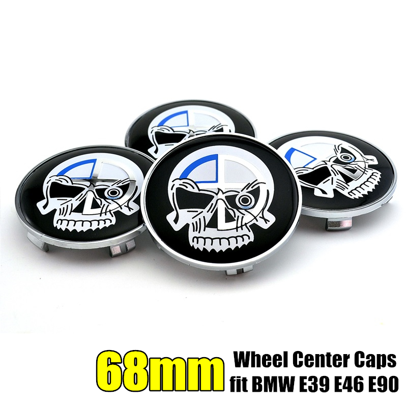 4 Pcs Evil Skull Alloy Wheel Rim Center Hub <font><b>Caps</b></font> Covers for <font><b>bmw</b></font> 68mm E36 E46 <font><b>E90</b></font> E92 E93 image