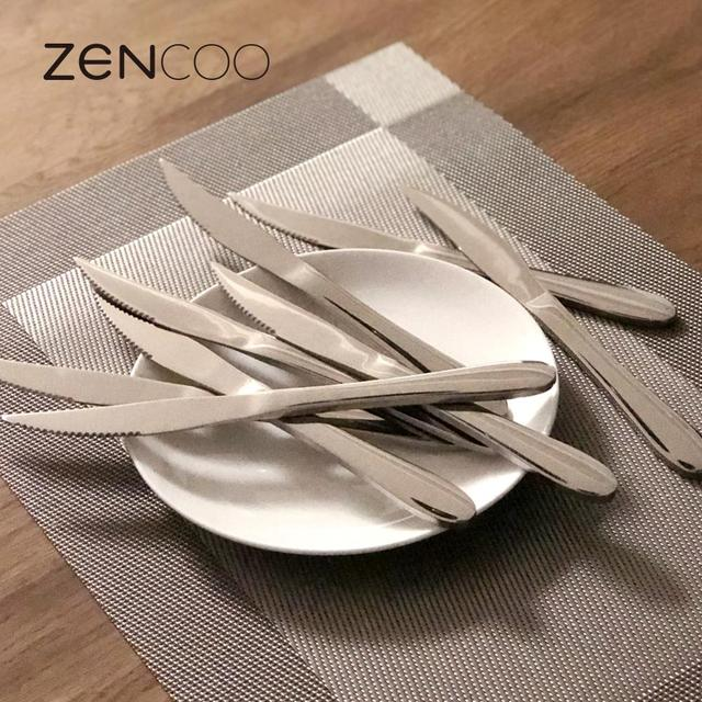 ZENCOO Stainless Steel Steak Knives 9 Inches Set of 8 for Chefs Commercial Kitchen Great For & ZENCOO Stainless Steel Steak Knives 9 Inches Set of 8 for Chefs ...