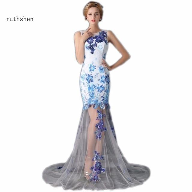 Ruthshen Meerjungfrau Abendkleider Lange Blau Pailletten Appliques ...
