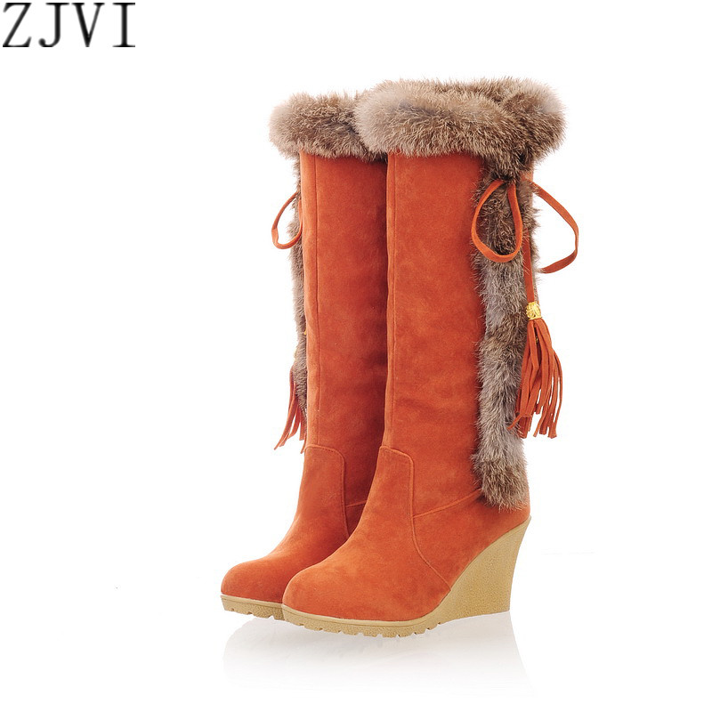 ФОТО ZJVI Fashion nubuck thigh high snow boots Elegant Rabbit hairs knee high Winter high Wedges heels boots woman female shoes