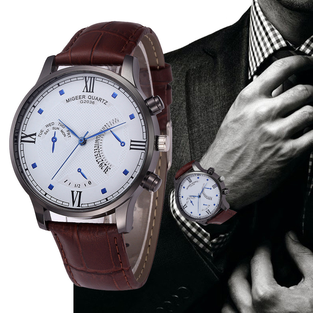 MIGEER 2018 Luxury Brand Men Watches Stainless Steel Retro Design Leather Band Analog Alloy Quartz Wrist Watch erkek saat vik max adult kids dark blue leather figure skate shoes with aluminium alloy frame and stainless steel ice blade
