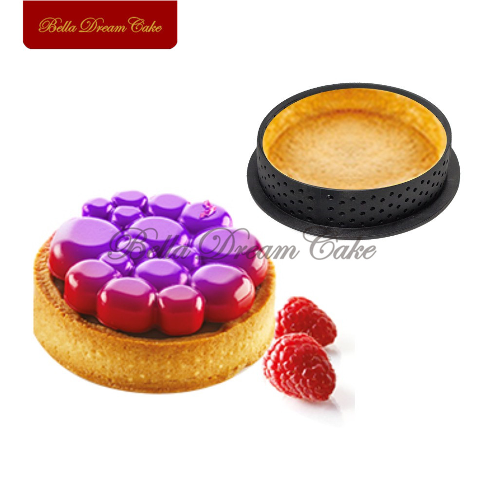 80*20mm Mousse Mould 1pc Round Shape Plastic Tart Ring French Dessert Perforated Cake Mousse Circle Cake Decorating Tool Bakewar title=