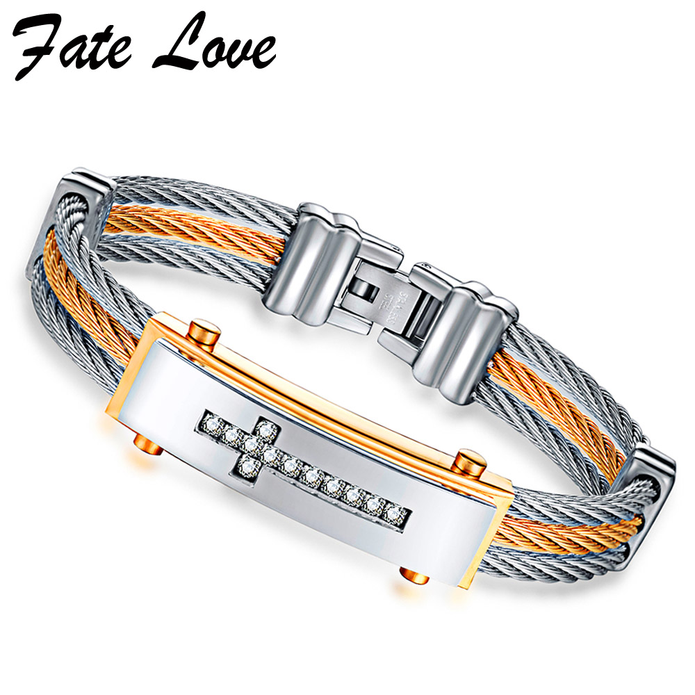 2017 Cross Bracelet Men Jewelry Pulseira Masculina Cubic Zirconia Mens Bracelets Bangles Stainless Steel Jewellery Accessories