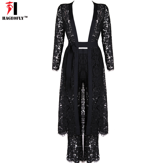 2017 New Sexy Fashion 2 Piece Sets Women Black Long Sleeve Cut Out Lace Pants Suits Women Sexy Party Cloths Vestidos De Fiesta