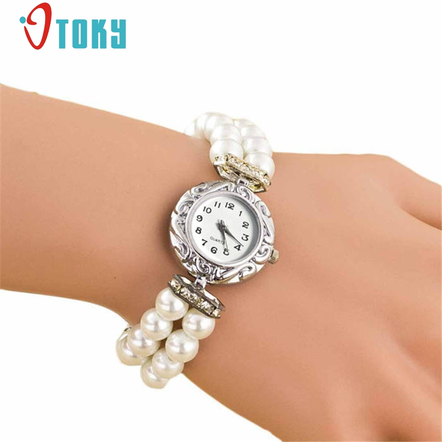 OTOKY Faux Pearl Bracelet Wristwatch Fashion Quartz Watch Women Ladies Casual Montre Watch #30 Gift 1pc