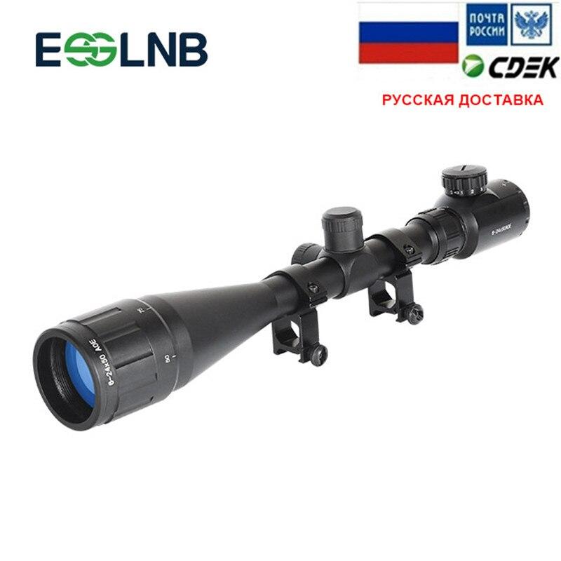 Tactical Riflescope 6 24X50 AOE Red Green Illuminated Crosshair Gun Scope Optical Sight Scope Hunting Scope