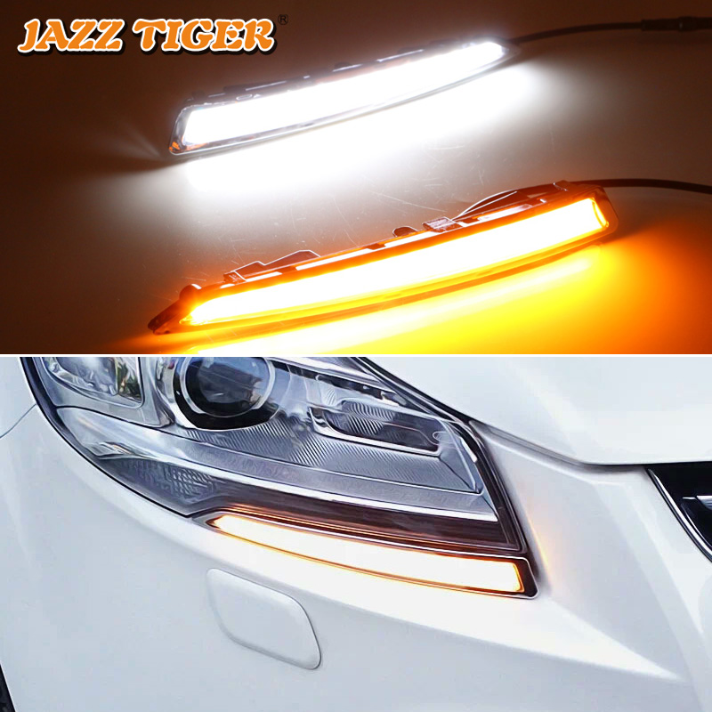 JAZZ TIGER 2PCS Turn Yellow Signal Function 12V Car DRL Lamp LED Daytime Running Light For Ford Kuga Escape 2013 2014 2015-in Car Light Assembly from Automobiles & Motorcycles    1