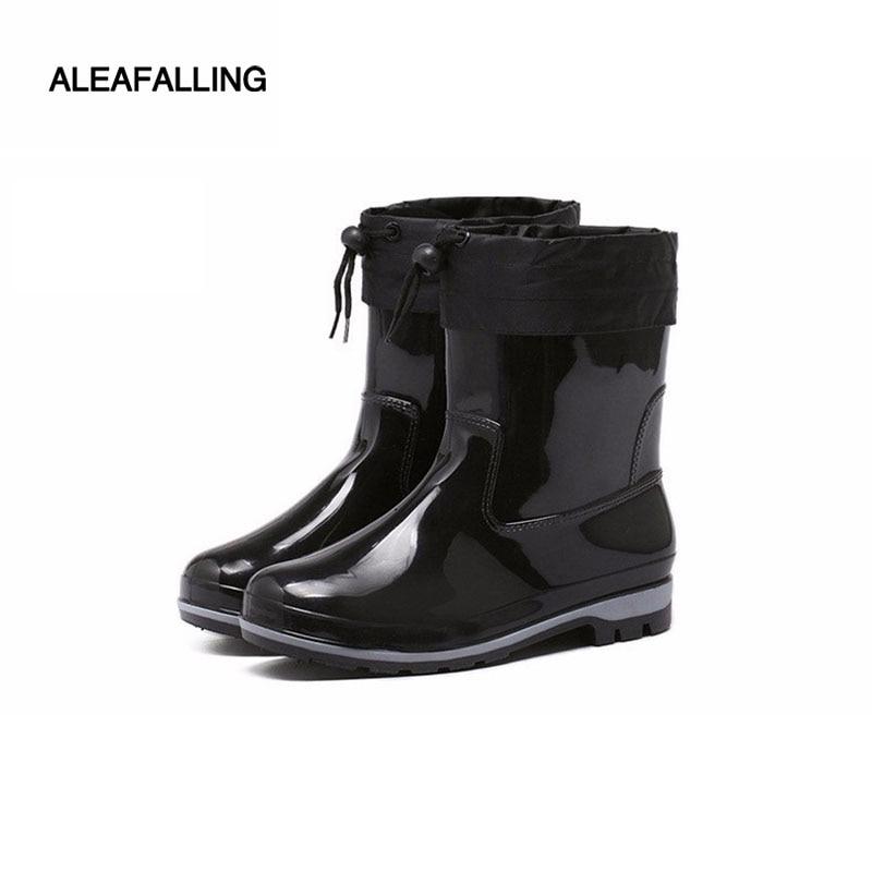 Aleafalling Kesmall Cotton cover rain boots waterproof mid-calf shoes men rain boy's water rubber mid-calf boots flat botas m015 цена 2017