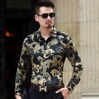 Top Quality Camisa Masculina Fashion 2018 Slim Fit Gold Velvet Shirt Men China Dragon Print Long