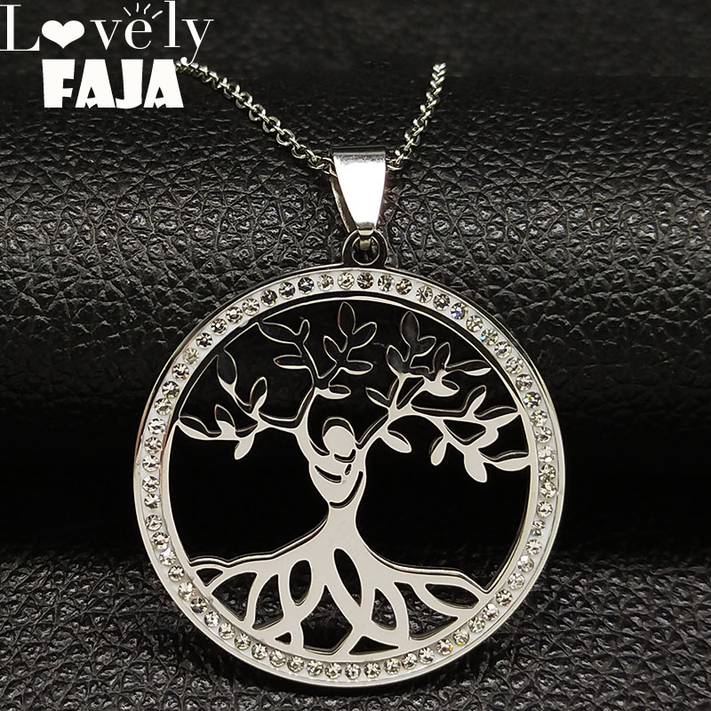 2018 Fashion Tree of Life Crystal Stainless Steel Necklace for Women Silver Color Pendant Necklace Jewelry collar mujer K77493B