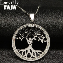 2019 Fashion Tree of Life Crystal Stainless Steel Necklace for Women Silver Color Pendant Necklace Jewelry collar mujer K77493B round owl pendant necklace for women tree life crystal necklace gold silver rhionstone jewelry female animal collar 2019 fashion