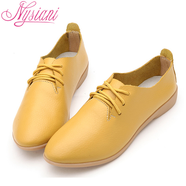 Nysiani Split Leather Oxford Shoes For Women Pointed Toe Casual Nurse Shoes Autumn Flat With Leather Women Loafers Shoes 2017