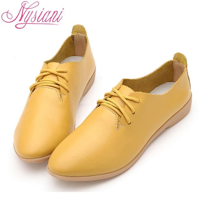 Nysiani Разделение кожаные туфли-оксфорды для женская обувь с острым носком Повседневная обувь для медсестры Осенняя обувь на плоской подошве кожаные женские лоферы обувь 2017
