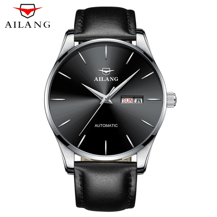 AILANG Brand Automatic Mechanical Watch Men Genuine Leather Strap Clock Waterproof Luxury Watch Men's relogio masculino 2018 2018 ailang sapphire automatic mechanical watch mens top brand luxury waterproof brown genuine leather watch relogio masculine
