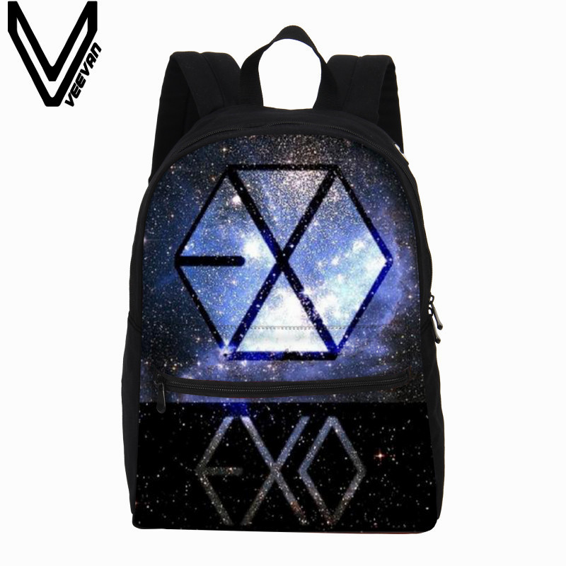 VEEVANV Men's Backpacks New EXO Letter Printing Backpacks Fashion Laptop Bags Grils Canvas Shoulder Bag Teenagers School Mochila