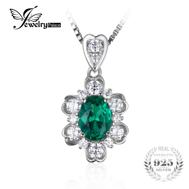 JewelryPalace Elegant 1.2ct Oval Created Nano Russian Emerald Pendant For Women 925 Sterling Silver Charm Jewelry Without Chain
