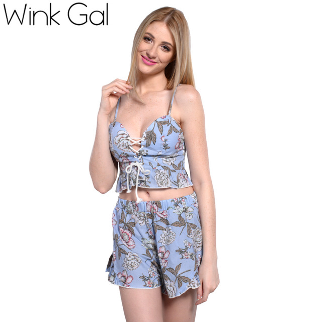Wink Gal 2 Piece Set Women Top And Shorts Set Sexy Summer Style Beach Wear  Swimsuit 7c23fb17c