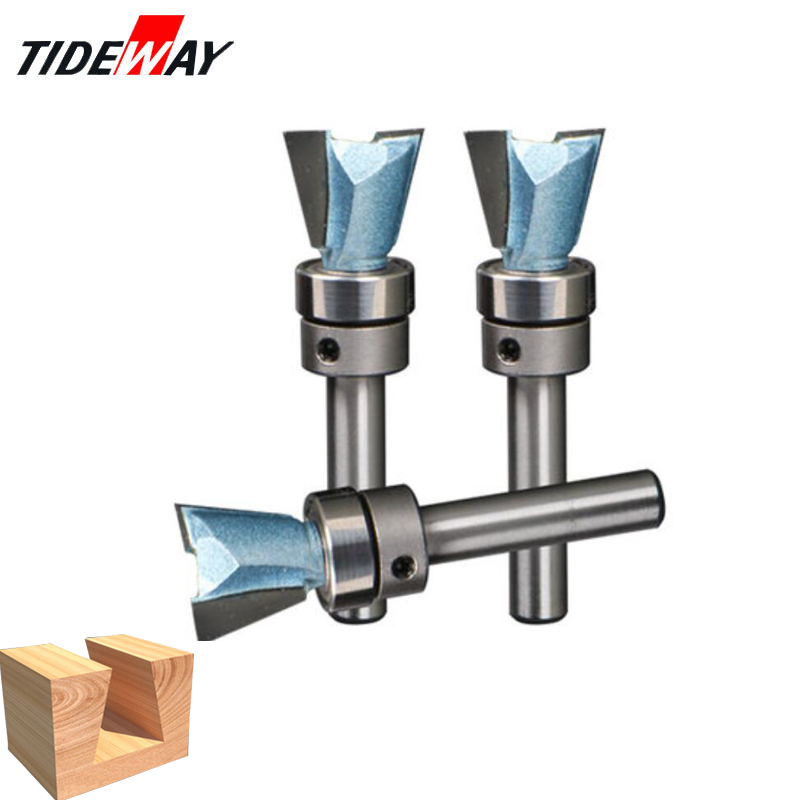 цена на Dongcheng 1/4 Shank Industrial Bearings Grade Wood Cutter Dovetail Router Bits for wood Tungsten Engraving Tool Milling Cutter