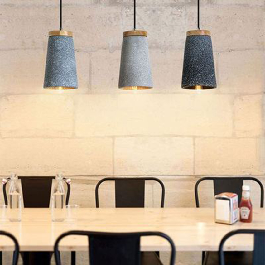 Nordic Loft LED Pendant Lamps Cement Pendant Light Fixtures Dining Room Cafe Bar Industrial Wind Decor Hanging Lights Luminaire in Pendant Lights from Lights Lighting