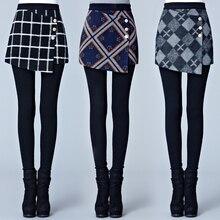 Осень и зима плюс бархат толстый Поддельные два предмета наборы леггинсы юбка