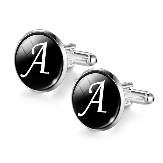 Men's Fashion A-Z Single Alphabet Cufflinks Silver Color Letter Cuff Button for Male Gentleman Shirt Wedding Cuff Links Gifts 2