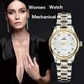 2017 BINKADA Lujo de la Marca Mujeres de Cuero Reloj de Pulsera Mecánico Automático de Acero Inoxidable Espejo de Zafiro Resistente Al Agua Relojes
