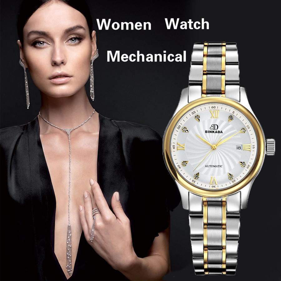 2017 BINKADA Luxury Brand Mechanical Watch Women Leather Bracelet Waterproof Sapphire Mirror Stainless Steel Automatic Watches