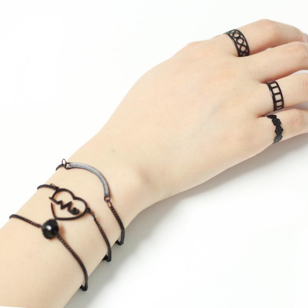 Hot Bracelets 2018 New Fashion Punk Rock Bracelet Set With Finger Rings 6pcs Heart Love Chain Pulseras For Women Boho Jewelry