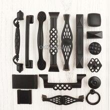 10PCS Elegant Black Furniture Handles Zinc Alloy Drawer Closet Cupboard Cabinet Knobs and European Kitchen Pull