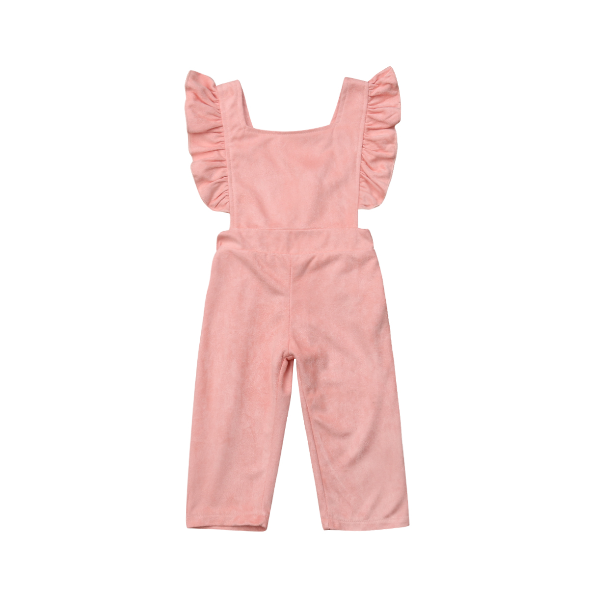 Newborn Baby Girl Kids Ruffle Sleeve Romper Overalls Long Pants Velvet Outfit Jumpsuit Kids Clothes tie front ruffle hem striped romper