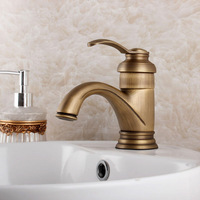 Fashion Bathroom Vanities Brushed Antique Faucet Copper Brass Vintage Bathroom Counter Basin Single Hole Hot And