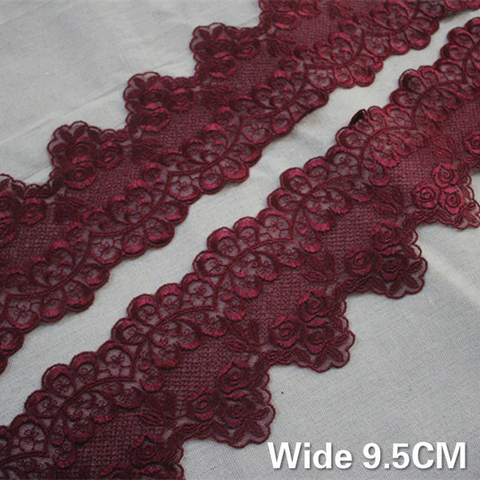 9.5CM Wide Luxury Wine Red Guipure Lace Fabric Exquisite Embroidery Ribbon Trim Collar Tablecloth Curtains DIY Sewing Supplies