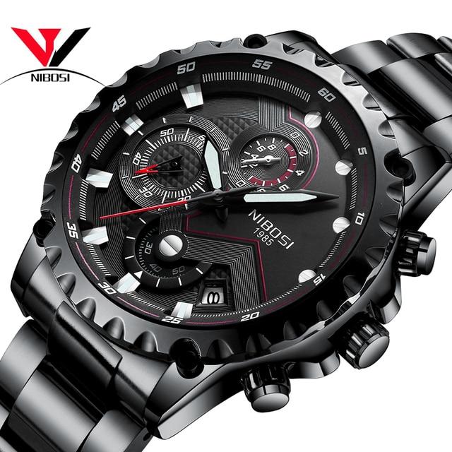 4d6e5e609b9 NIBOSI Relógios Homens Esportes Relógio de Pulso À Prova D  Água Preto Dos  Homens de