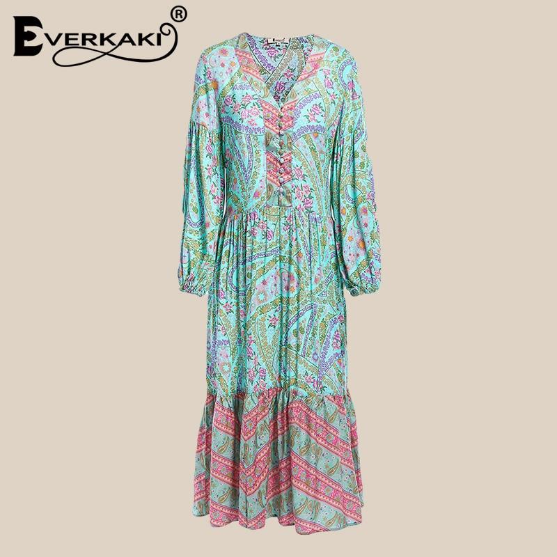 449e648a87bb Everkaki Boho Cotton Midi Dress Women Paisley Floral Print Summer Vestidos  Draped Long Sleeve Ruffles Gypsy Dress Female 2019-in Dresses from Women s  ...