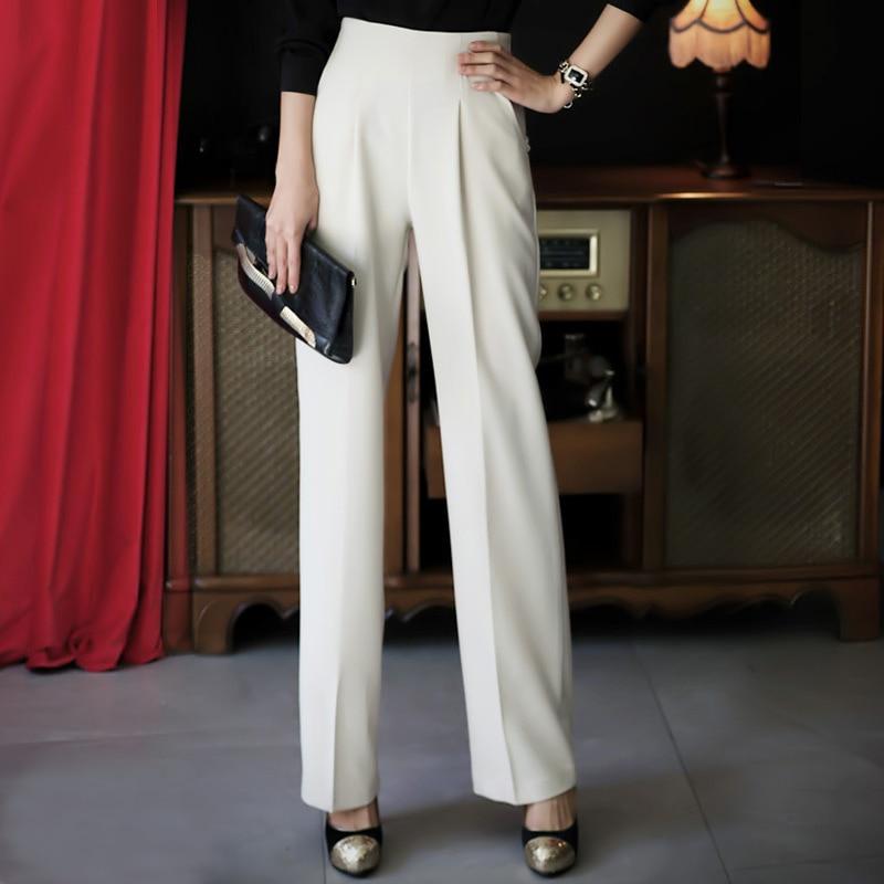 Nueva white Ropa Coreana Verano Moda Cintura Suelta Pantalón Ocasional Alta Ancho Blanco Primavera 2018 Pantalones Black Mujer Delgada gray 4UqEW