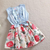 2017 Hot Sale Girls Baby Korean Jeans Denim Patchwork Cotton Tutu Dress Clothing Summer Kids Dresses