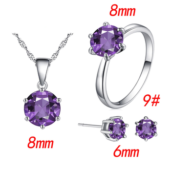 Fashion Silver Color Cubic Zircon Jewelry Sets Hot Promotions Jewelry Jewelry Sets Women Jewelry Metal Color: purple Ring Size: 9
