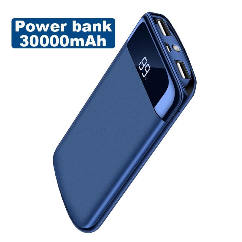 30000mAh Power Bank External Battery 2 USB LED Powerbank Portable Mobile Phone Charger for Xiaomi MI iphone XS Samsung A8 A7 A6 usb battery bank charger