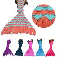 New Qualified Knitted Mermaid Tail Blanket Handmade Crochet Adult Throw Bed Wrap Sleeping Dropship D23Au29