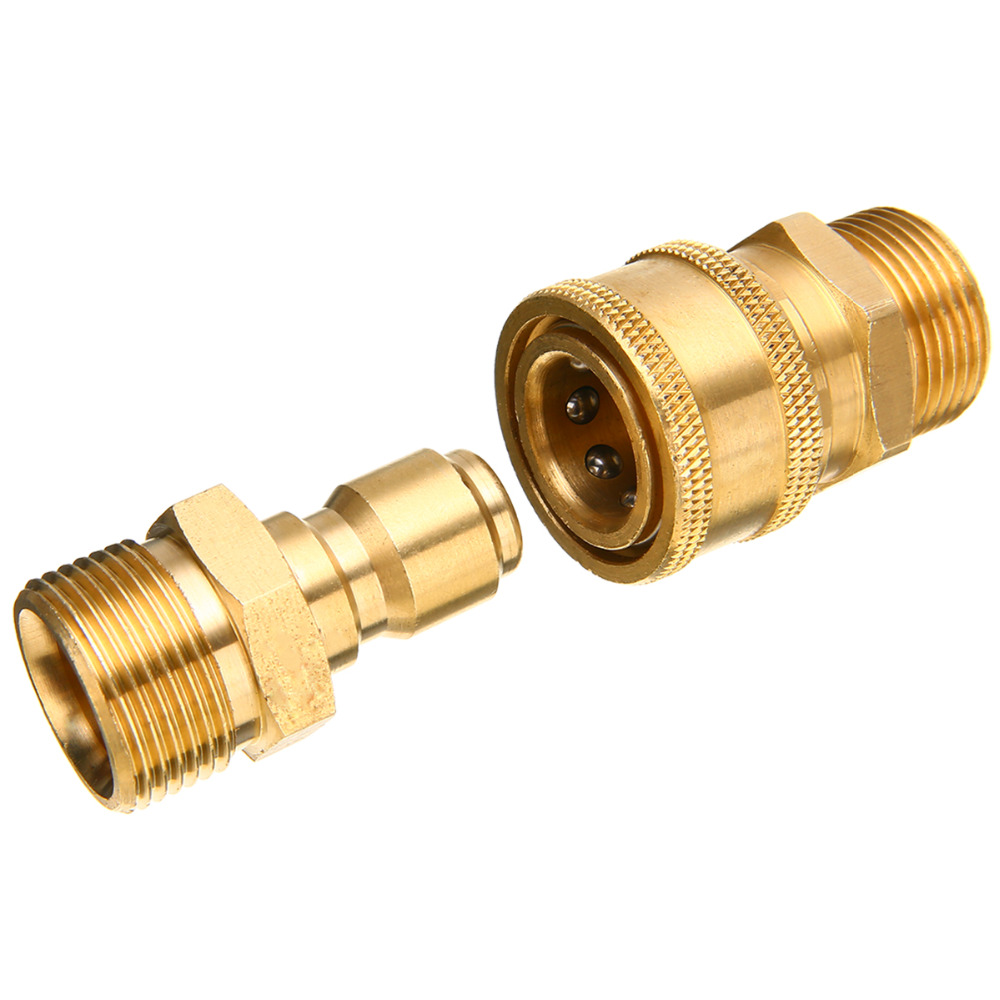 1 Pair Brass Quick Couplers 3 8 quot M22 Quick Release Pressure Washer Adapter Connector Coupling 14 8MM Mayitr Pneumatic Parts in Pneumatic Parts from Home Improvement