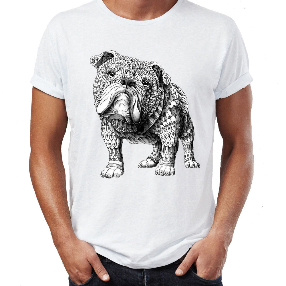 2018 Hip Hop T Shirt Men Male Best Selling T Shirt Aztec Bulldog Dog Design Boho Swag Vogue Hipster Indie Cotton T Shirt