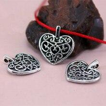 TJP 20 pcs Tibetan Silver Tone Love Heart Charms Pendants Hollow Open for DIY Bracelet Necklace Jewelry Making Findings 15x16mm