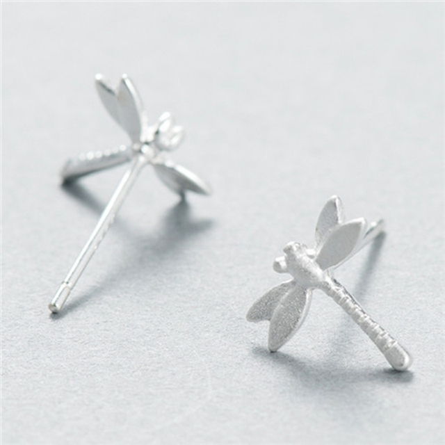 New 925 Sterling Silver Dragonfly Stud Earrings Female Matte Lovely Stylish And Sweet