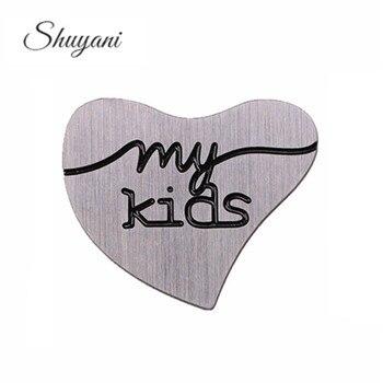 10 piezas de placas de corazón curvadas de acero inoxidable, placas de ventana de medallón flotante, dijes My Kids para medallón de cristal de corazón de 30mm