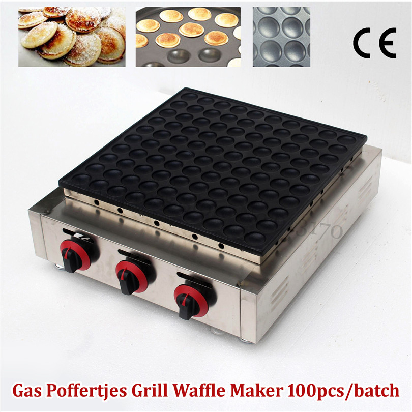 Stainless Steel Gas Dutch Poffertjes Grill Mini Pancake Machine Nonstick Cooking Surface Waffle Baker Maker 100 Holes 25pcs electric mini poffertjes grill machine waffle machine dutch poffertjes pancakes maker machine baker plate