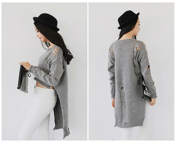 New 2014 Vintage Broken Hole Short Front Long Back Sweaters Womens ...