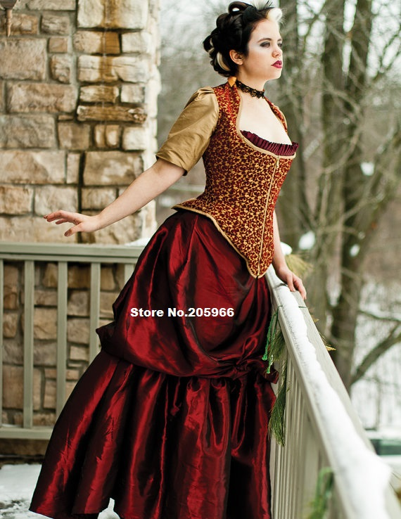 Custom made steampunk bustle dress taffeta or silk for Victorian corset wedding dresses